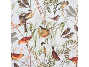 Bavlněná látka PREMIUM - Podzimní ptáčci