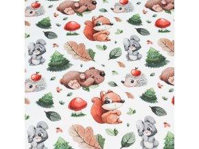 Bavlněná látka PREMIUM - Zajíček, veverka a ježek