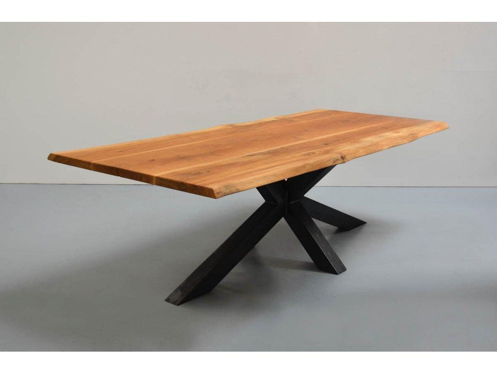 Stůl z masivního dřeva v kombinaci s křížovým rámem (DUB) (délka 300 cm, šířka 120 cm, výška 80 cm)