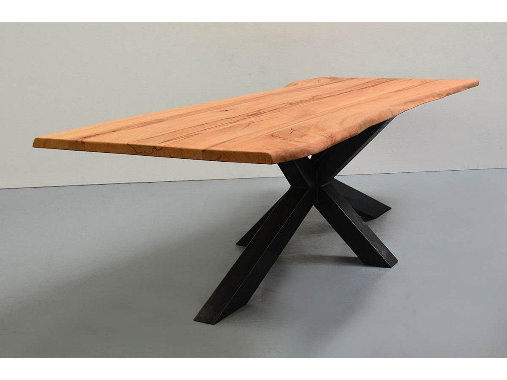 Stůl z masivního dřeva v kombinaci s křížovým rámem (BUK) (délka 300 cm, šířka 120 cm, výška 80 cm)