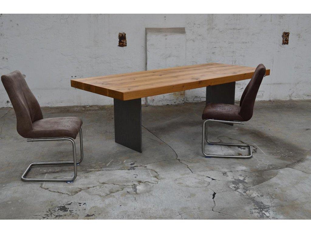 Masivní dubový stůl s ocelovými lícy (délka 300 cm, šířka 120 cm, výška 80 cm)