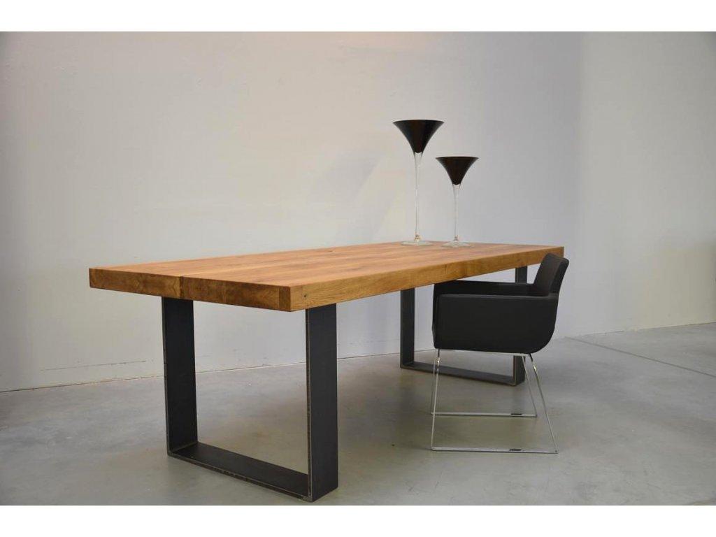 Masivní dubový jídelní stůl s ocelovým rámem (délka 300 cm, šířka 120 cm, výška 80 cm)