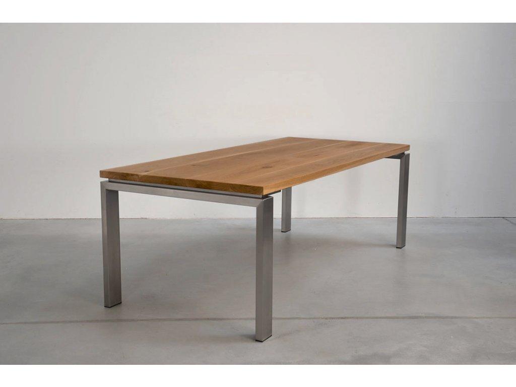 Jídelní stůl dub s rámem z nerezové oceli (délka 300 cm, šířka 120 cm, výška 80 cm)