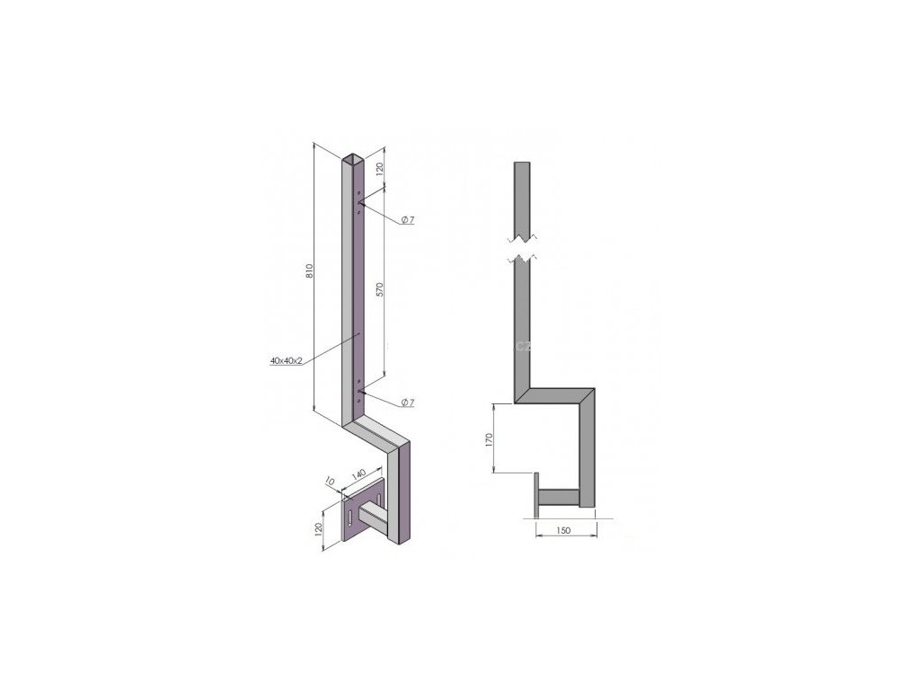 vodotisk balkonovy sloupek bocni