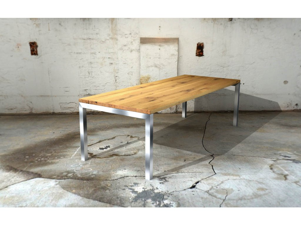Jídelní stůl z masivního dubového dřeva s ocelovým rámem (délka 300 cm, šířka 120 cm, výška 80 cm)