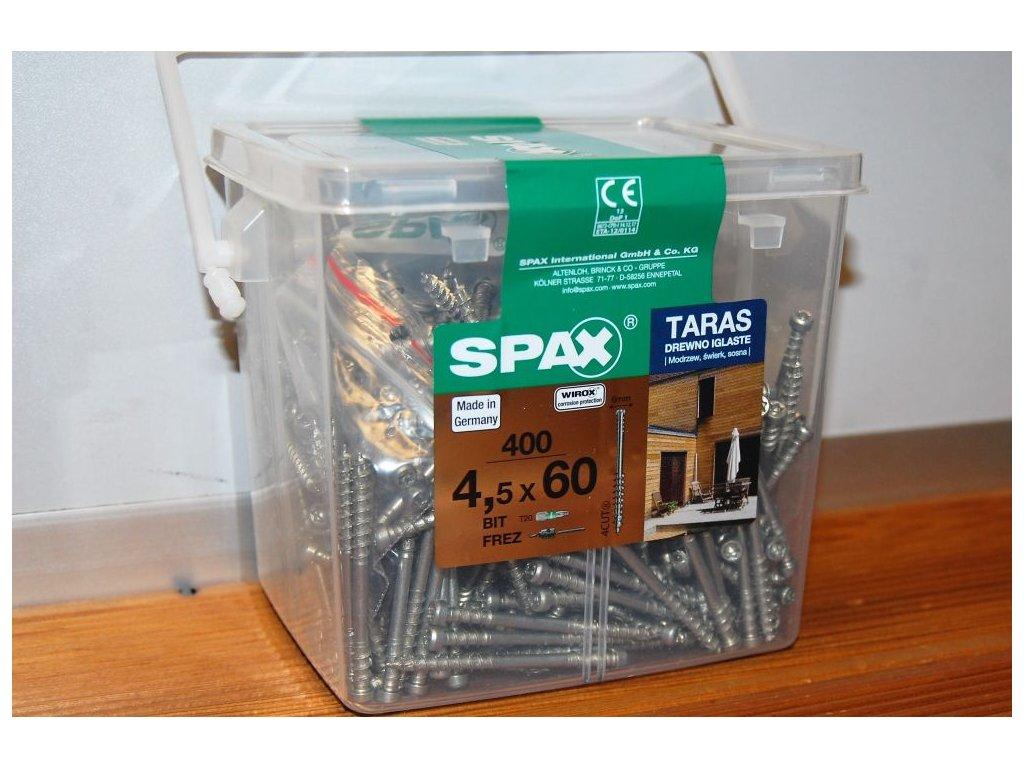 SPAX SET, 400 terasových šroubů 4,5x60 mm + BONUS