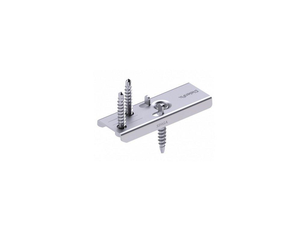 Nerezové příchytky k terasovým prknům DielenFix® DF (DielenFix DF 300 ks DielenFix DF z nerez. oceli A2, pro tloušťku prkna 30 mm, 600 ks vrutů 4,2 x 28 mm, TX20, 150 ks vrutů 4,5 x 29 mm, TX20)