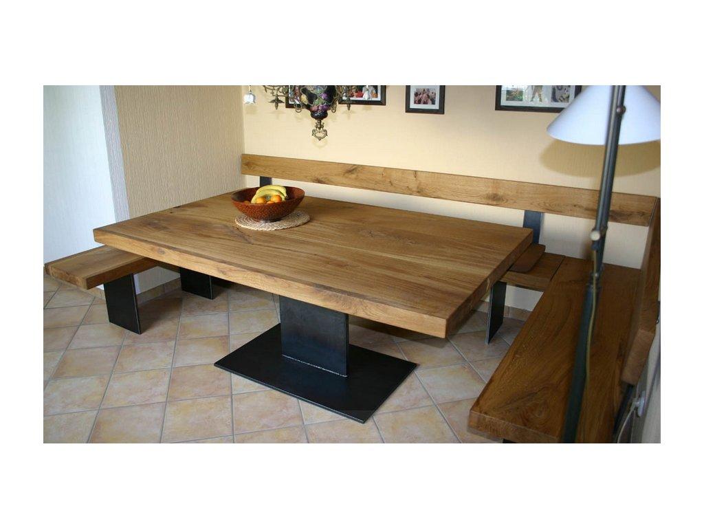 Dubový jídelní stůl s ocelovým rámem