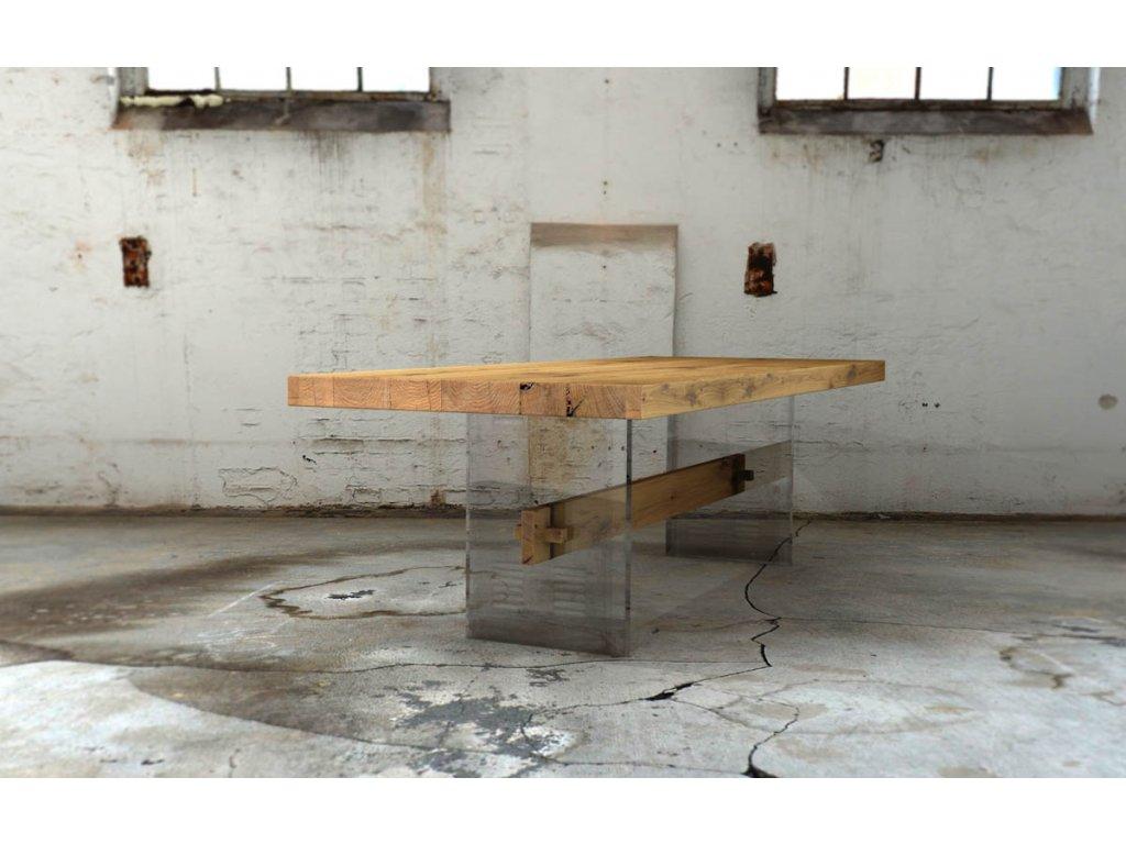 Designový jídelní stůl z dubového masivu v kombinaci s líci z akrylového skla
