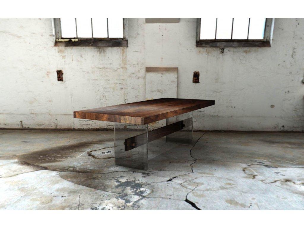 Designový jídelní stůl z ořechového masivu v kombinaci s líci z akrylového skla