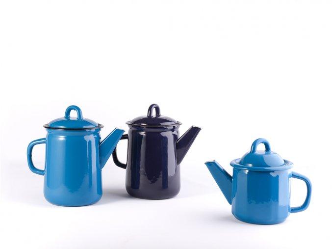 Smaltovaná konvice modrá/fialová