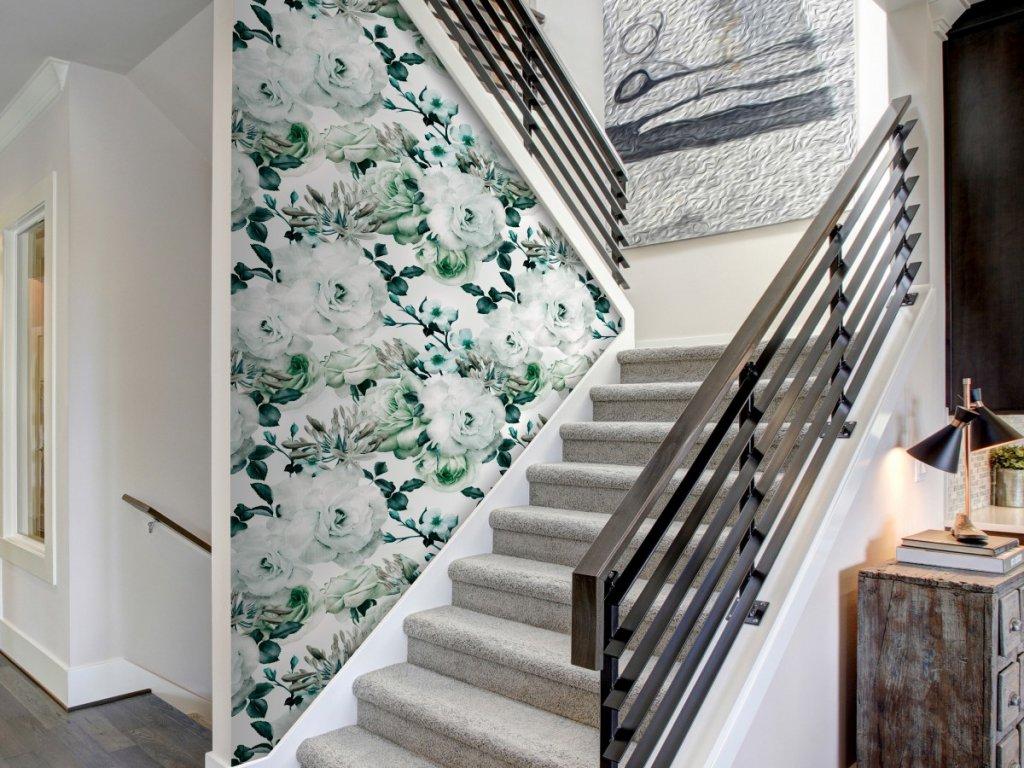 Andělské květy zelené (Klasické tapety 49x1000 cm - samolepicí)