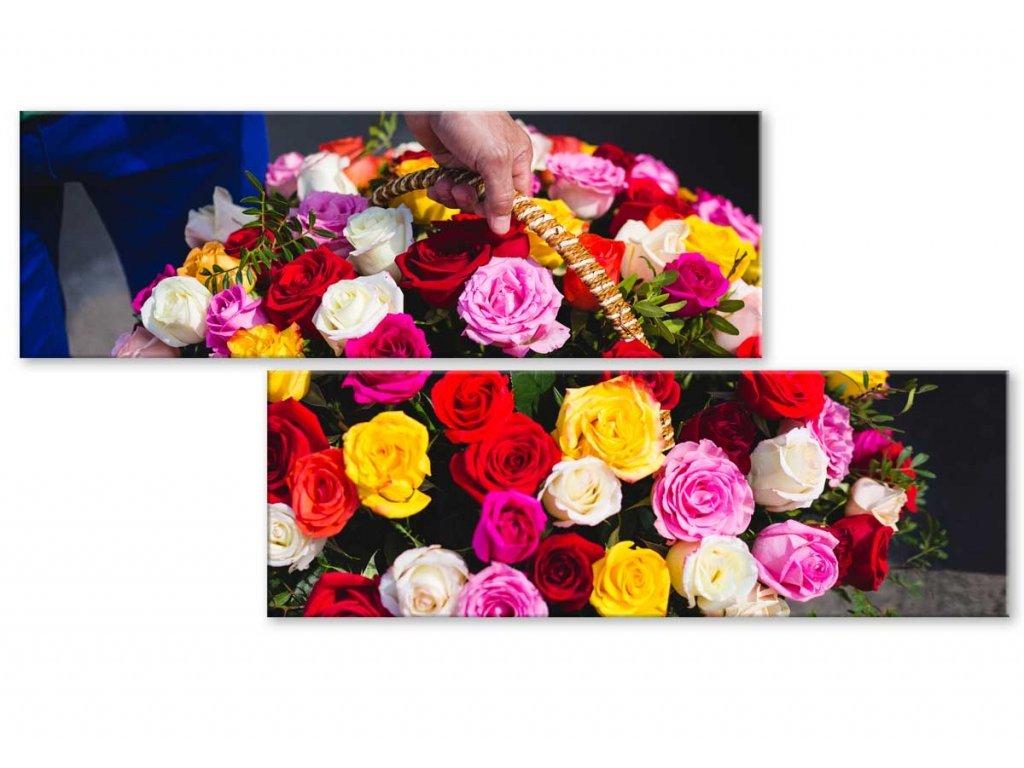 Atypický obraz koš růží (Velikost (šířka x výška) 100x50 cm)
