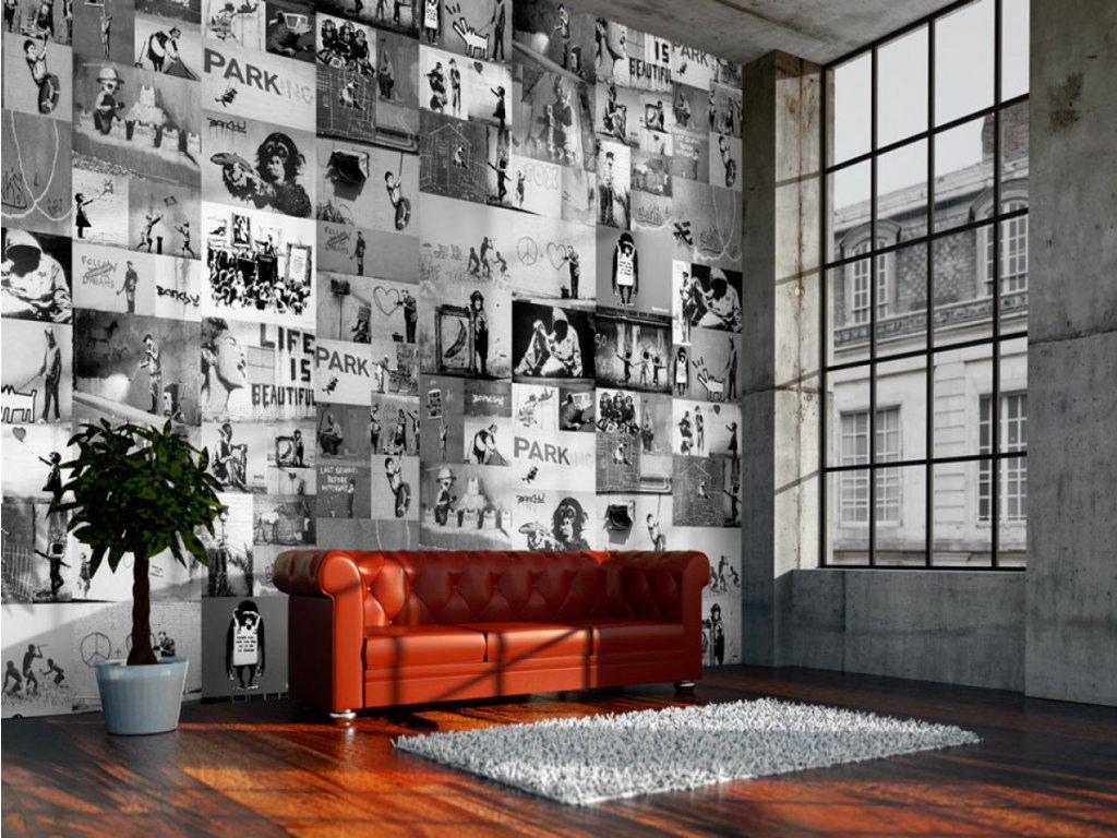 Banksy šedá koláž (Klasické tapety 49x1000 cm - samolepicí)