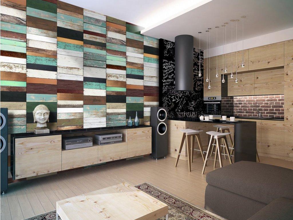 Barevná dřevěná skládanka (Klasické tapety 49x1000 cm - samolepicí)