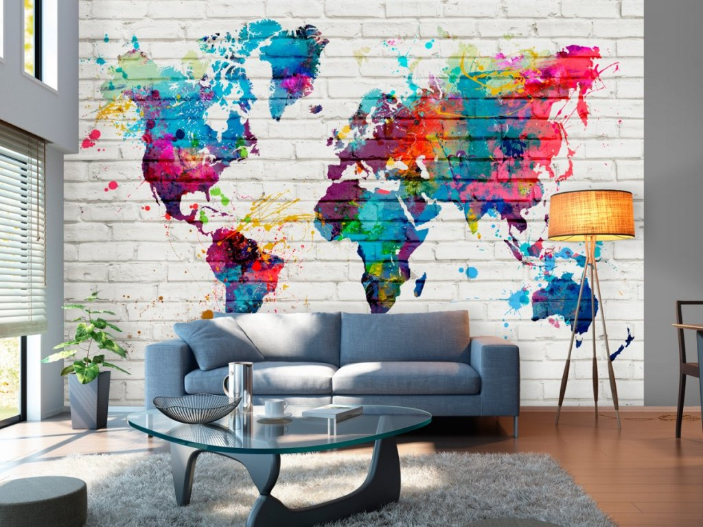 Barevná mapa světa (Rozměry (š x v) a Typ 147x105 cm - samolepící)