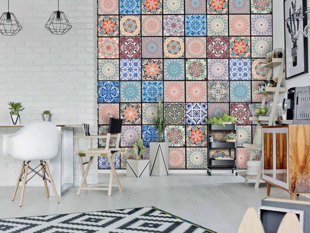 Barevné ornamenty (Klasické tapety 49x1000 cm - samolepicí)
