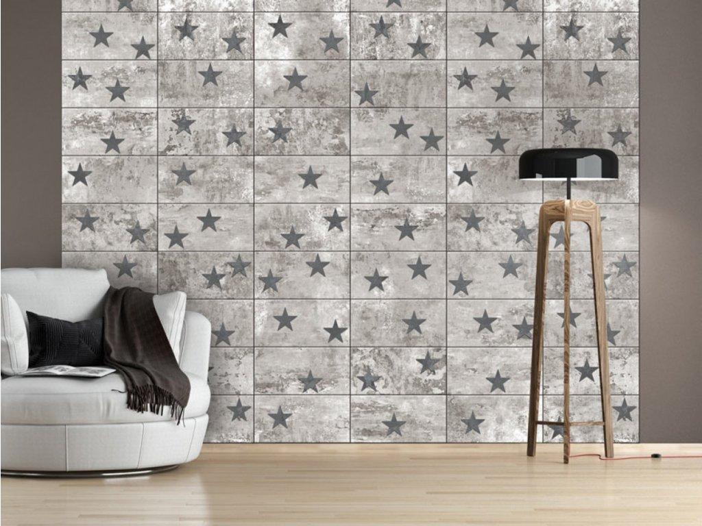 Betonové hvězdy (Klasické tapety 49x1000 cm - samolepicí)