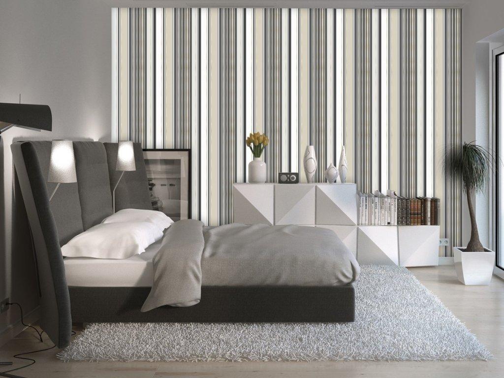 Béžovo-šedé pruhy (Klasické tapety 49x1000 cm - samolepicí)