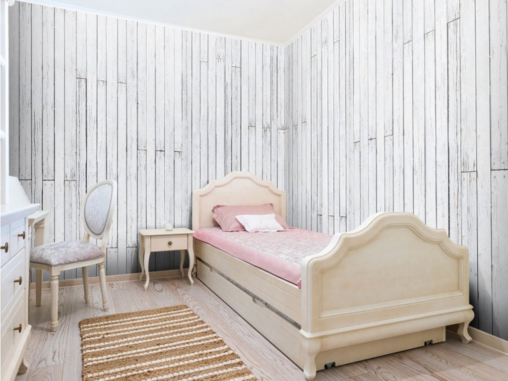 Bílé prkna (Klasické tapety 49x1000 cm - samolepicí)