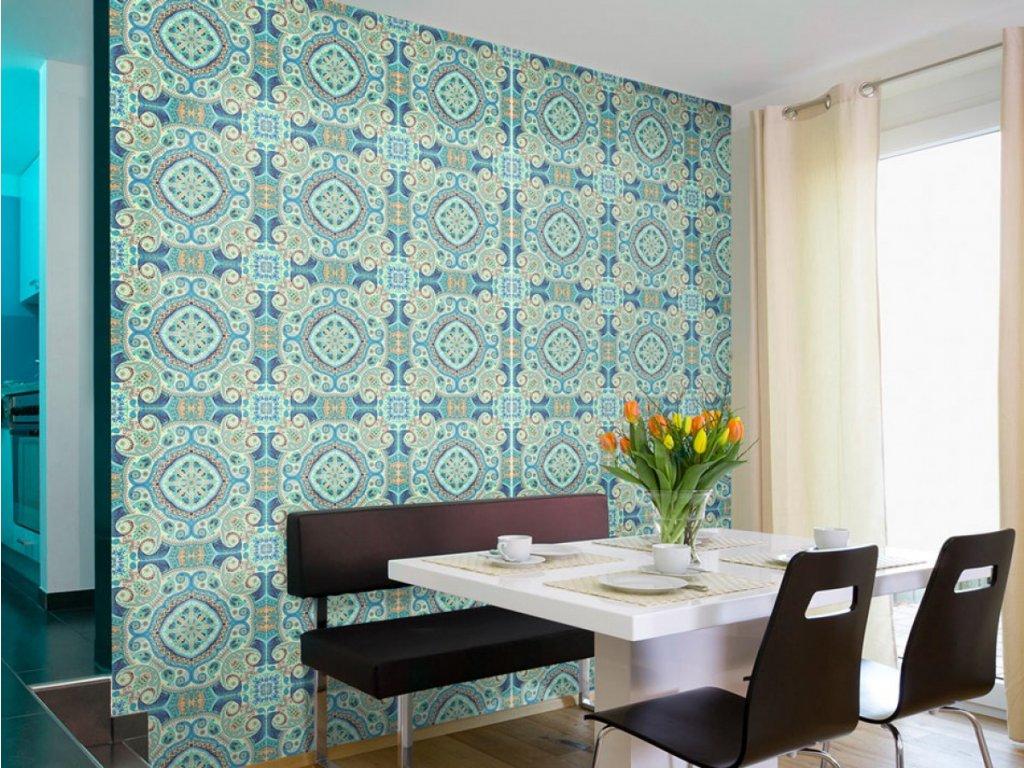 Blankytná mozaika (Klasické tapety 49x1000 cm - samolepicí)