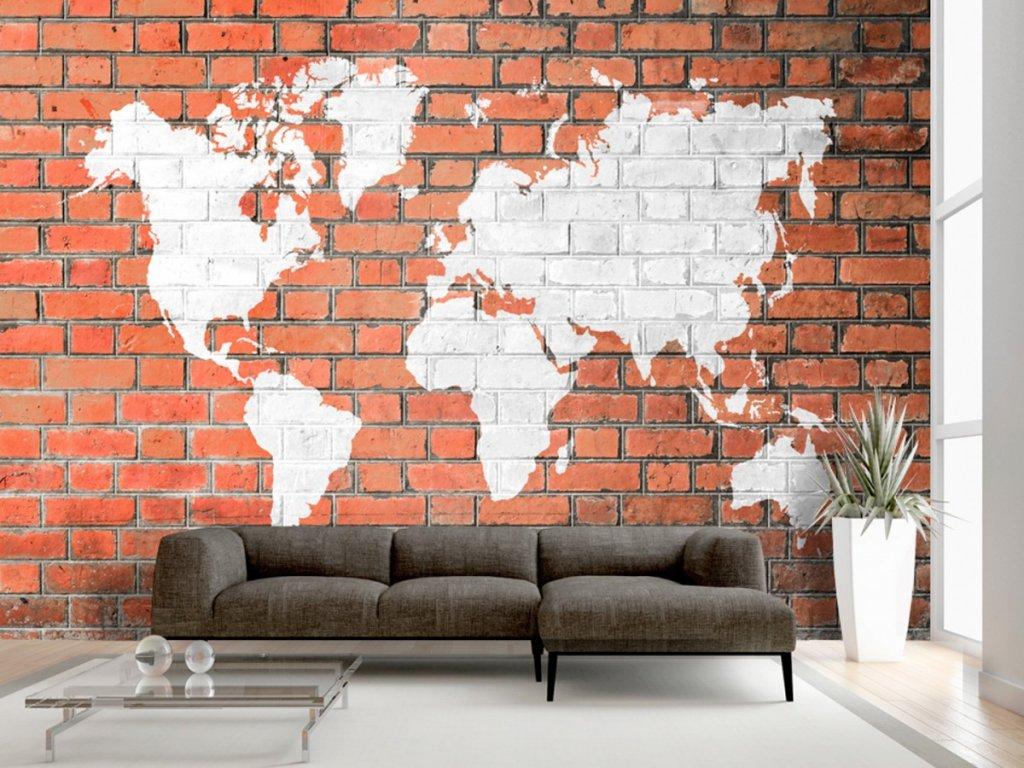 Cihlová zeď se světadíly (Rozměry (š x v) a Typ 147x105 cm - samolepící)