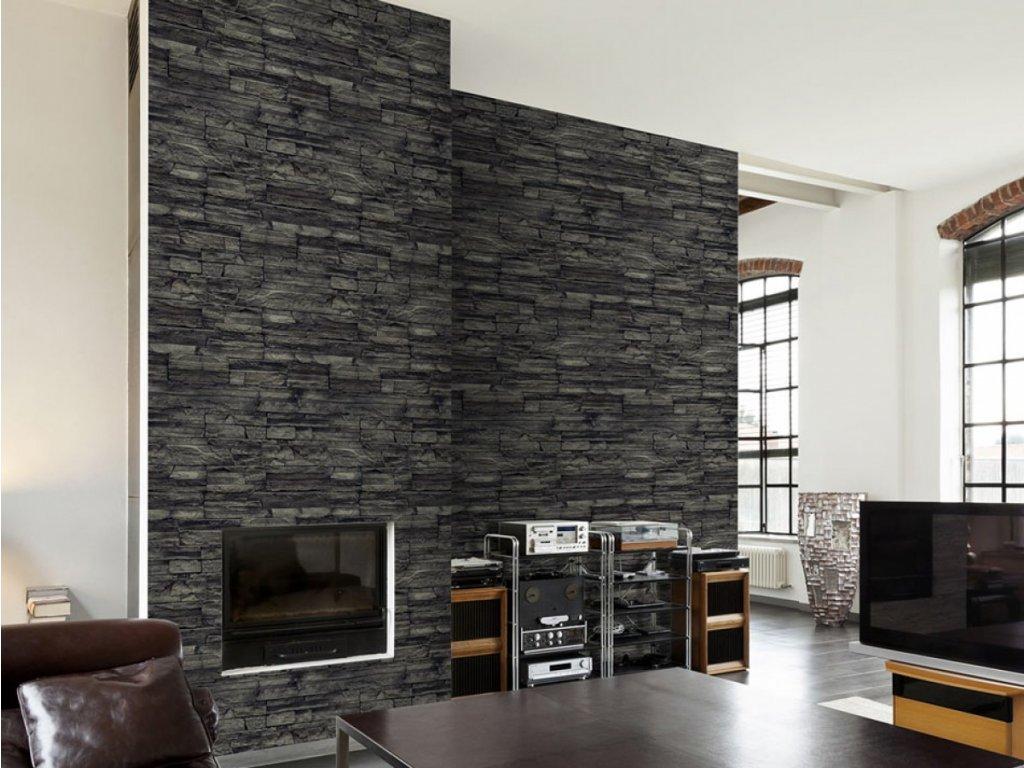 Černá stěna (Klasické tapety 49x1000 cm - samolepicí)