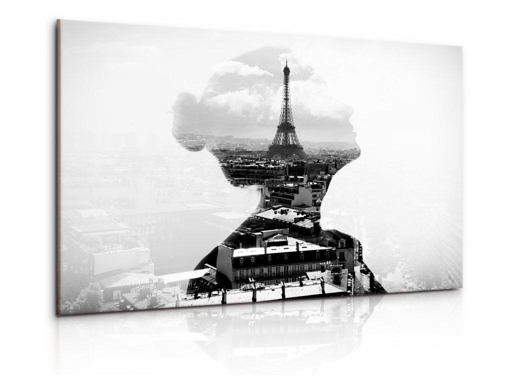 Černobílý obraz dáma v Paříži (Velikost 90x60 cm)