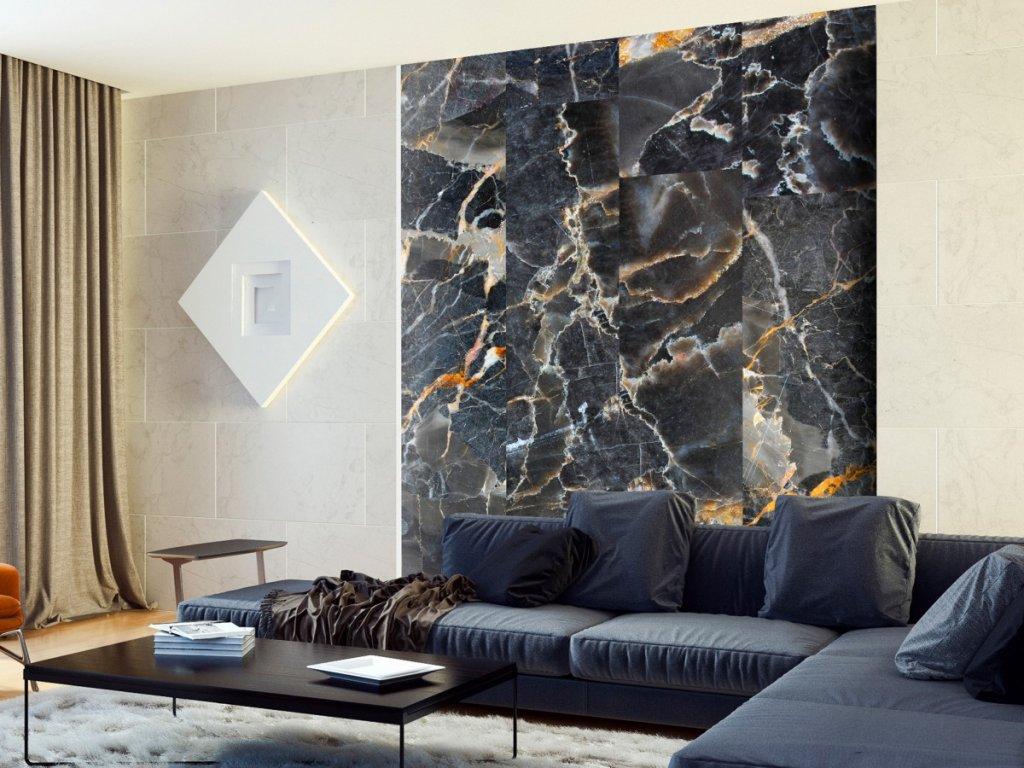Černý mramor (Klasické tapety 49x1000 cm - samolepicí)