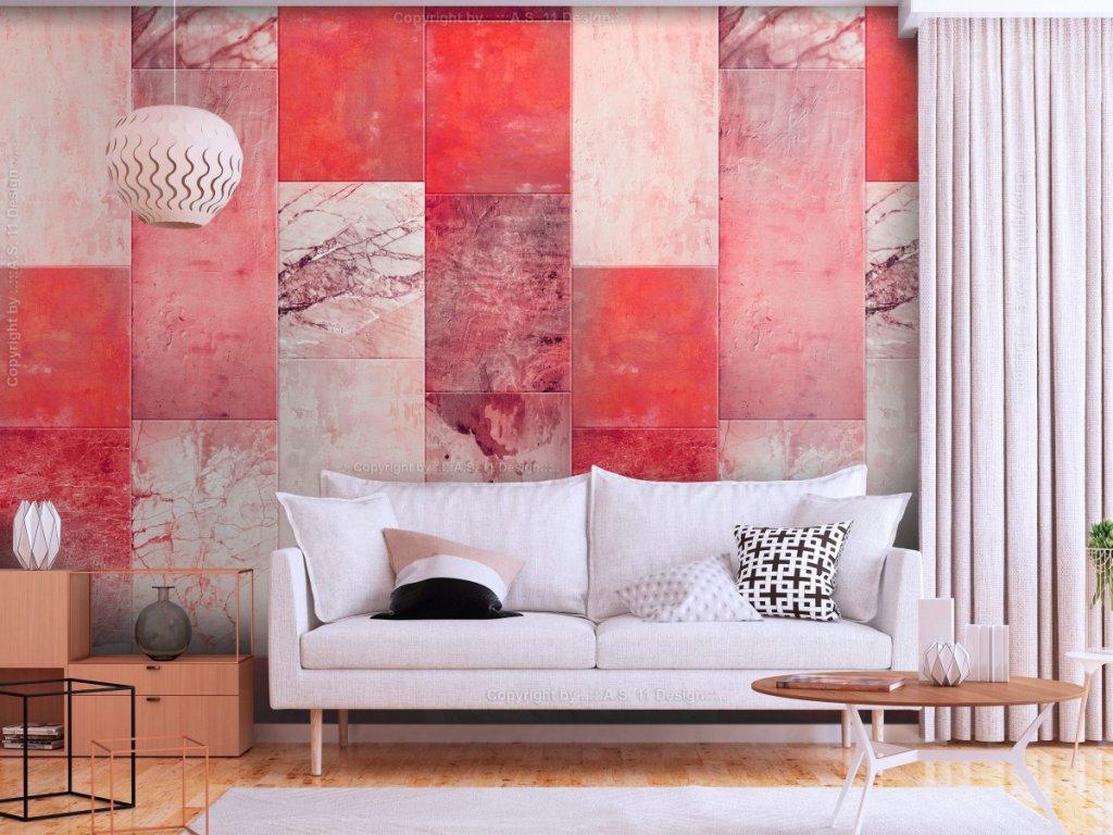 Červeno šedý obklad (Klasické tapety 49x1000 cm - samolepicí)
