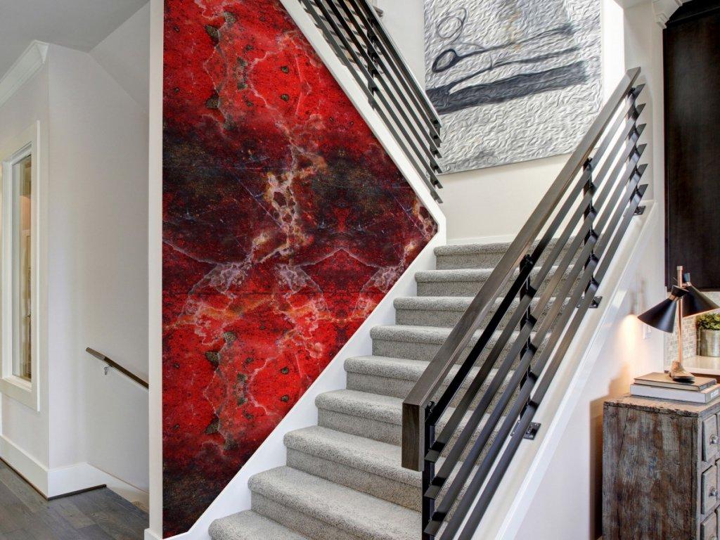 Červený mramor (Klasické tapety 49x1000 cm - samolepicí)
