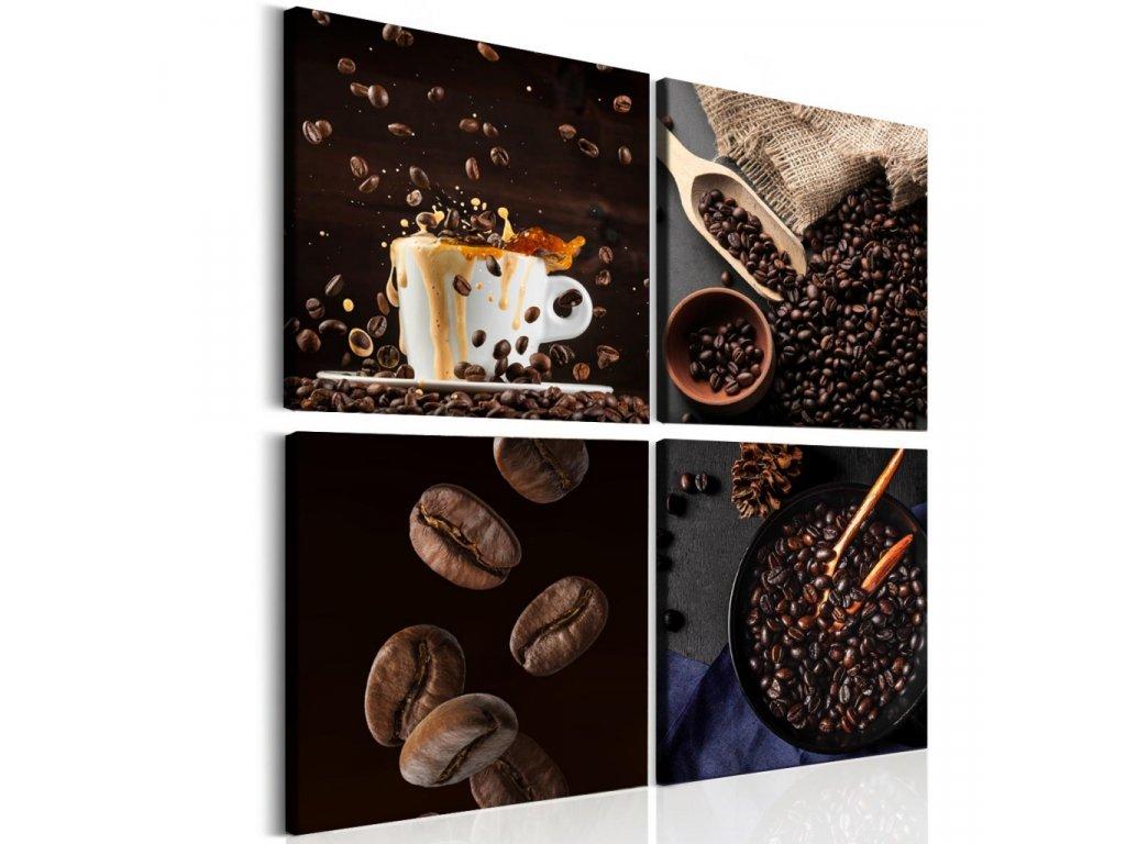 Čtyřdílný obraz čerstvá káva (Velikost (šířka x výška) 60x60 cm)