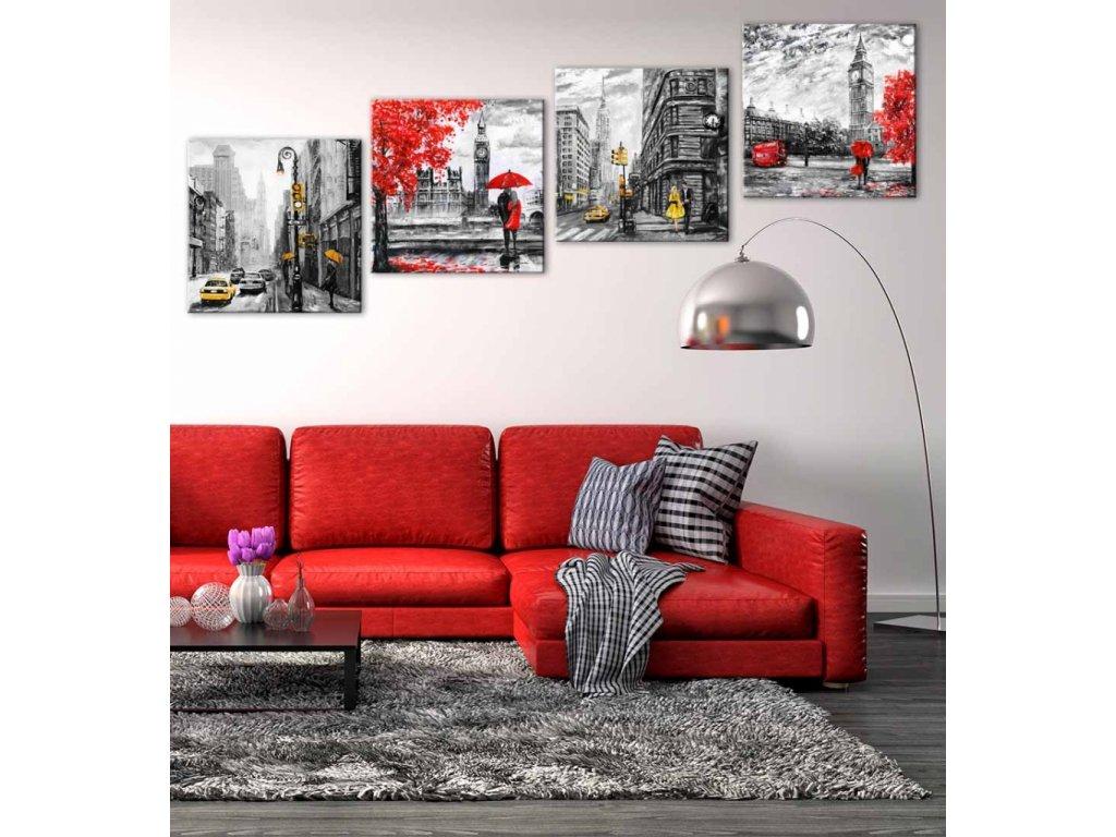 Čtyřdílný obraz krásy velkoměsta (Velikost (šířka x výška) 100x100 cm)
