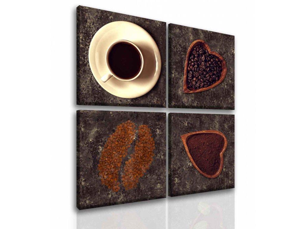 Čtyřdílný obraz miluji kávu (Velikost (šířka x výška) 80x80 cm)