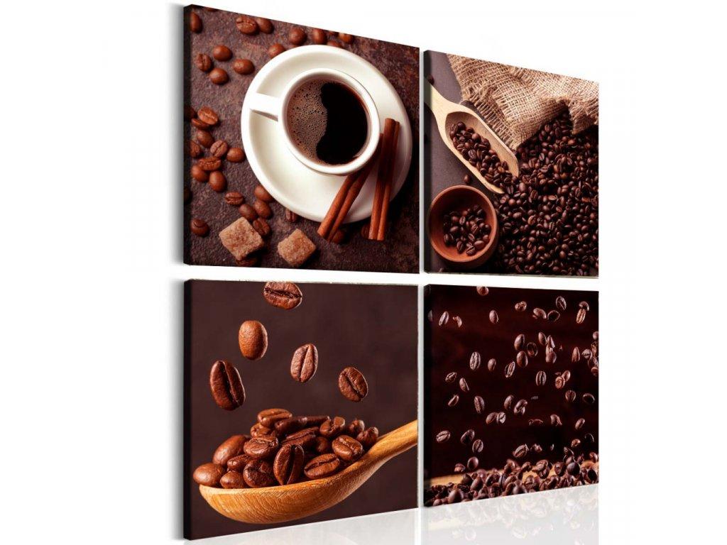 Čtyřdílný obraz ranní káva (Velikost (šířka x výška) 60x60 cm)