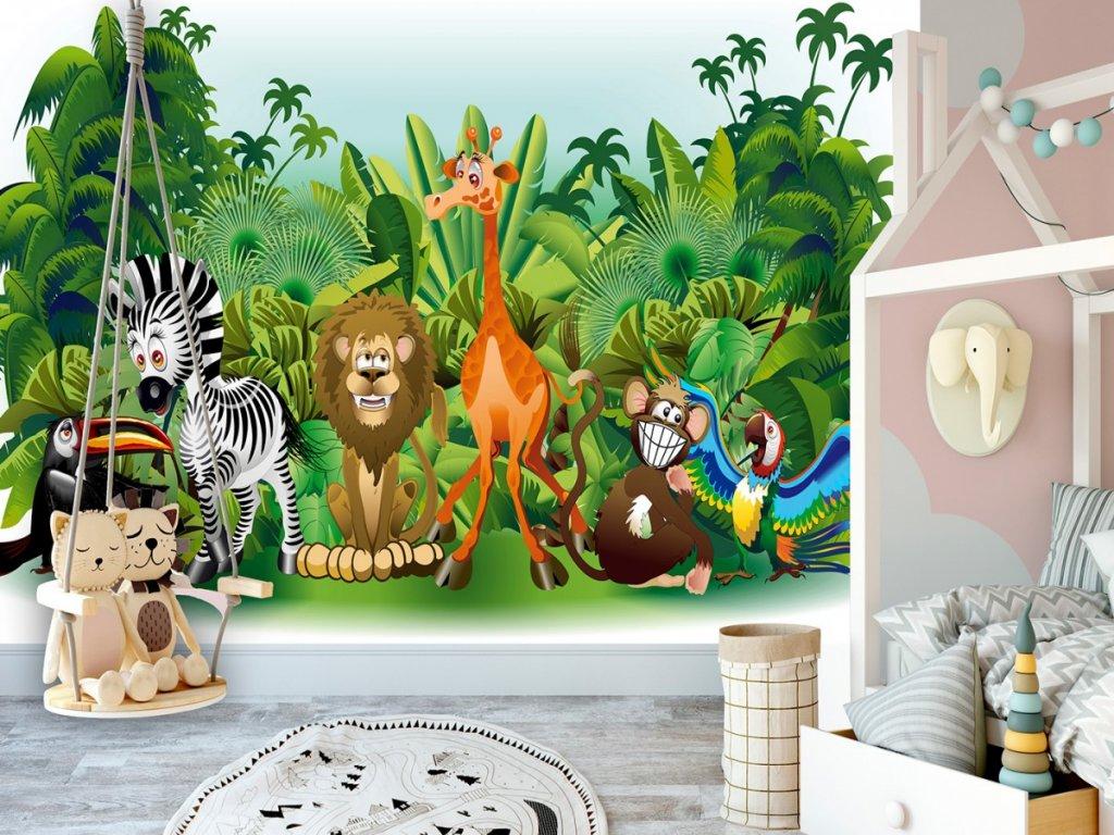 Dětská tapeta Džungle (Rozměry (š x v) a Typ 147x105 cm - samolepící)