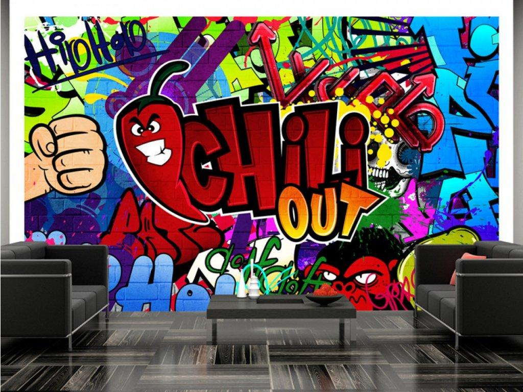 Dětská tapeta graffiti chili out (Rozměry (š x v) a Typ 147x105 cm - samolepící)