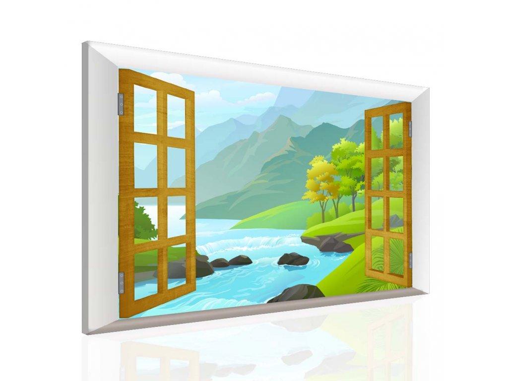 Dětský obraz okno do pohádky (Velikost 120x80 cm)