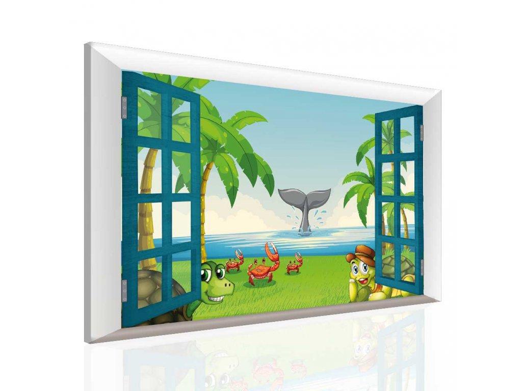 Dětský obraz zvířátka na pláži (Velikost 90x60 cm)