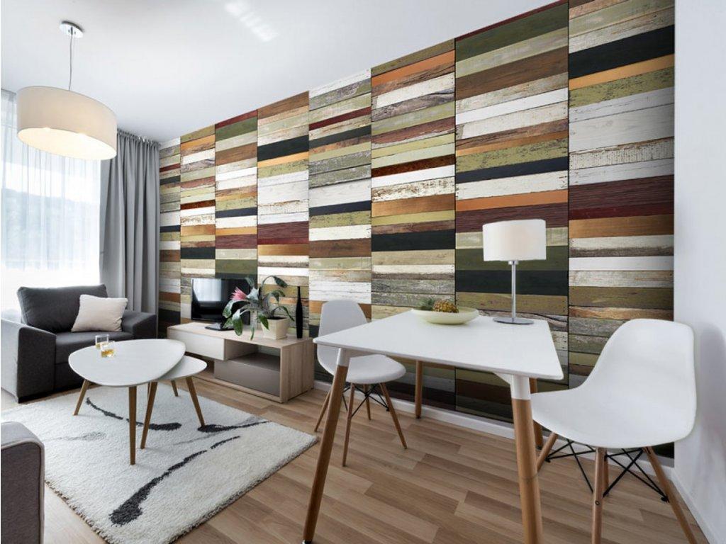 Dřevěná paleta barev (Klasické tapety 49x1000 cm - samolepicí)