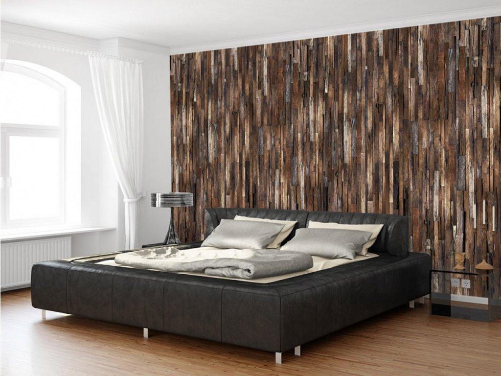 Dřevěná stěna hnědá paleta (Klasické tapety 49x1000 cm - samolepicí)
