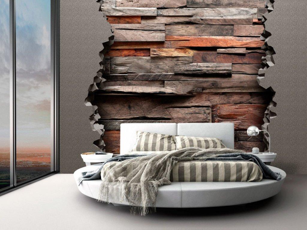 Dřevo tapeta na stěnu (Rozměry (š x v) a Typ 147x105 cm - samolepící)