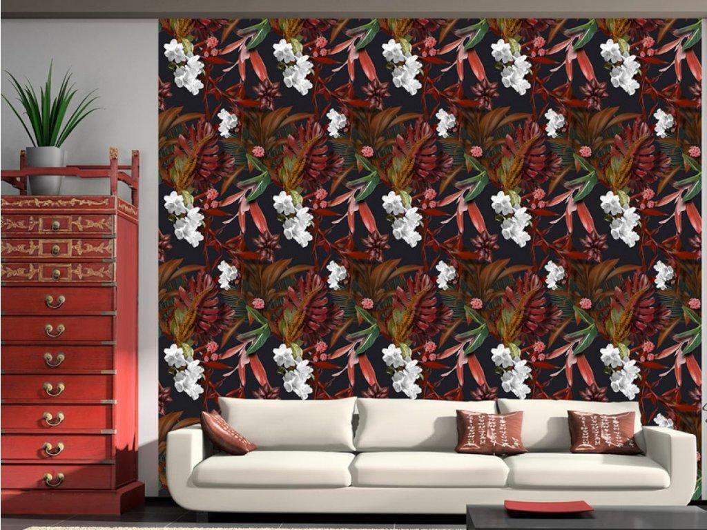 Exotické noční květy (Klasické tapety 49x1000 cm - samolepicí)