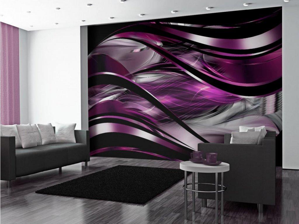 Fialová abstraktní tapeta na zeď (Rozměry (š x v) a Typ 147x105 cm - samolepící)
