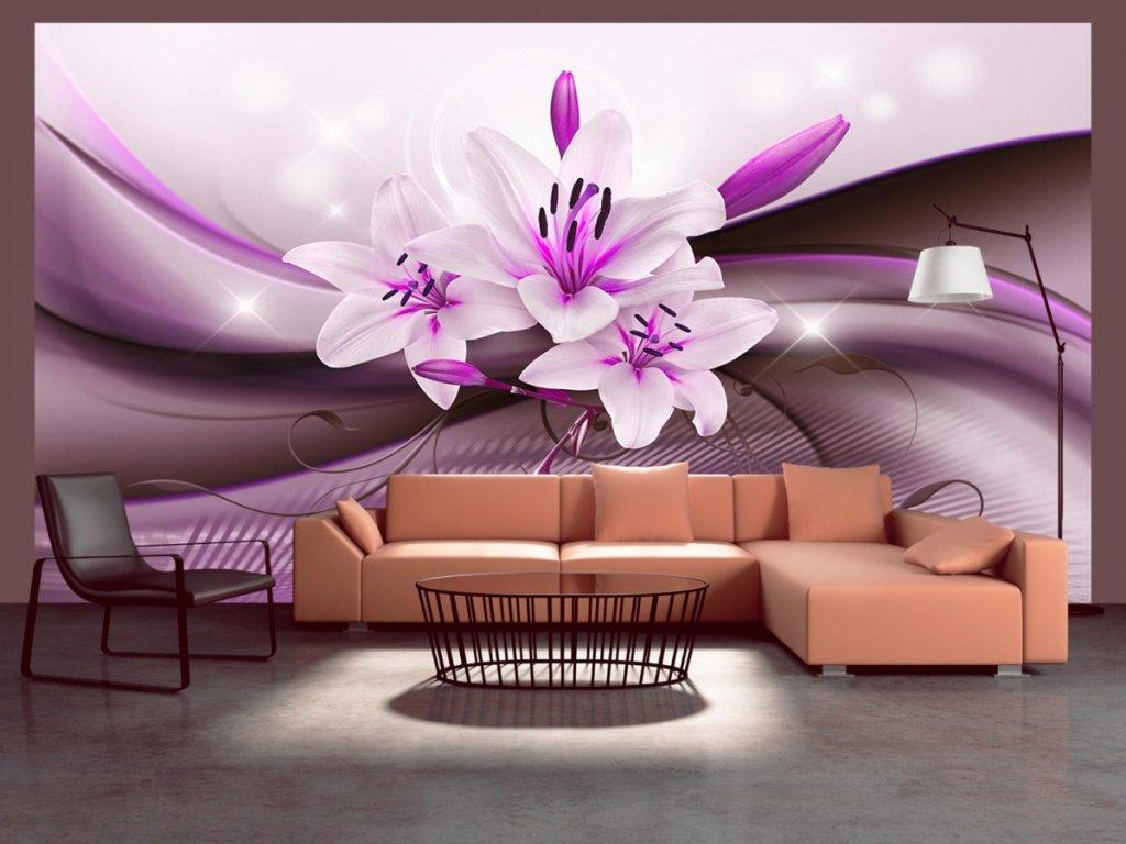 Fialová elegantní lilie (Rozměry (š x v) a Typ 147x105 cm - samolepící)