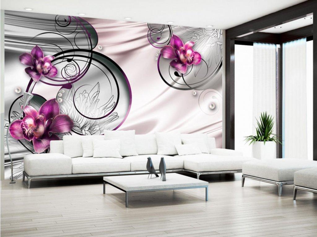 Fialová orchidej a abstrakce (Rozměry (š x v) a Typ 147x105 cm - samolepící)