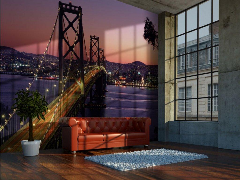 Fialová tapeta San Francisco (Rozměry (š x v) a Typ 147x116 cm - samolepící)