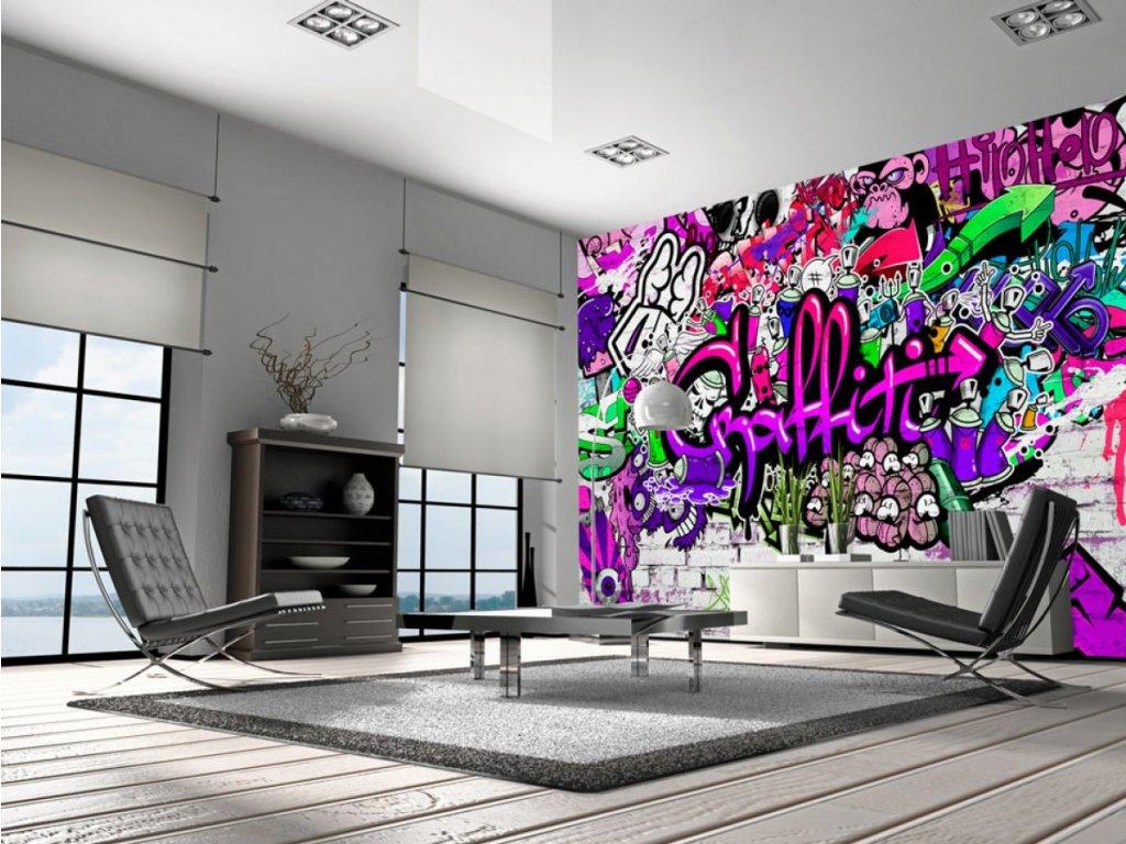 Fialové graffiti (Rozměry (š x v) a Typ 147x105 cm - samolepící)