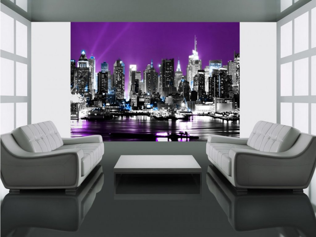 Fototapeta - fialový New York (Rozměry (š x v) a Typ 147x116 cm - samolepící)