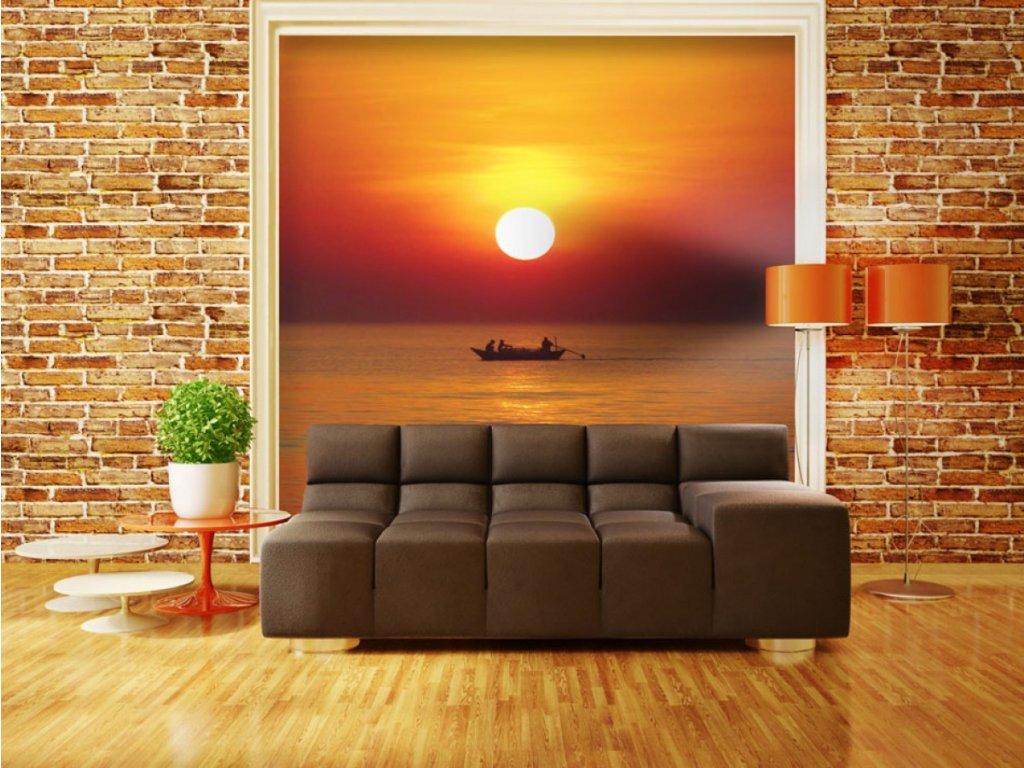 Fototapeta - západ slunce s rybářem (Rozměry (š x v) a Typ 147x116 cm - samolepící)